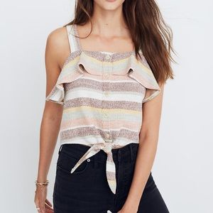 MADEWELL Ruffle Tie-Front Tank in Stripe size L